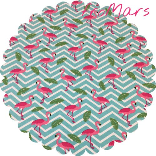JM - Jersey - Flamingos - Mint/Weiß gestreift