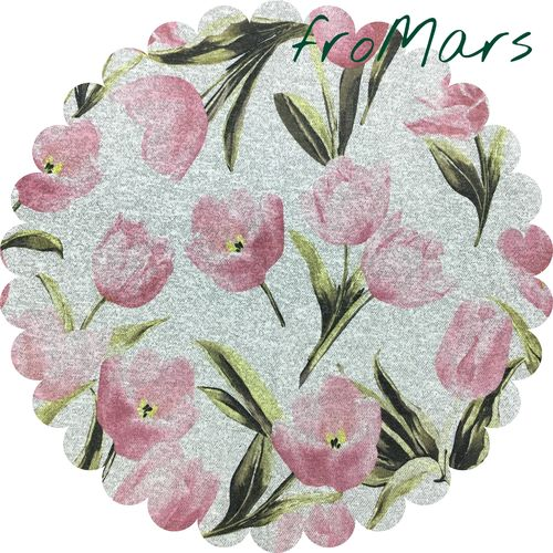 F - Viscose Mix - Tulpen - Strickprint - Rosa/Grau