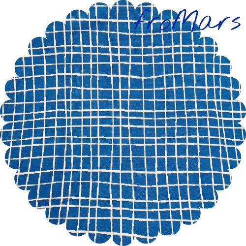 J- Albstoffe - Jacquard - Life Loves You - Grid - Blau